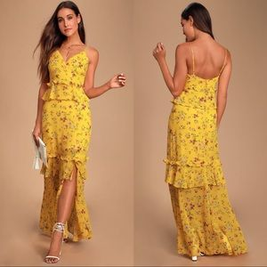 Sunshine Bouquet Yellow Floral Ruffled Maxi Dress